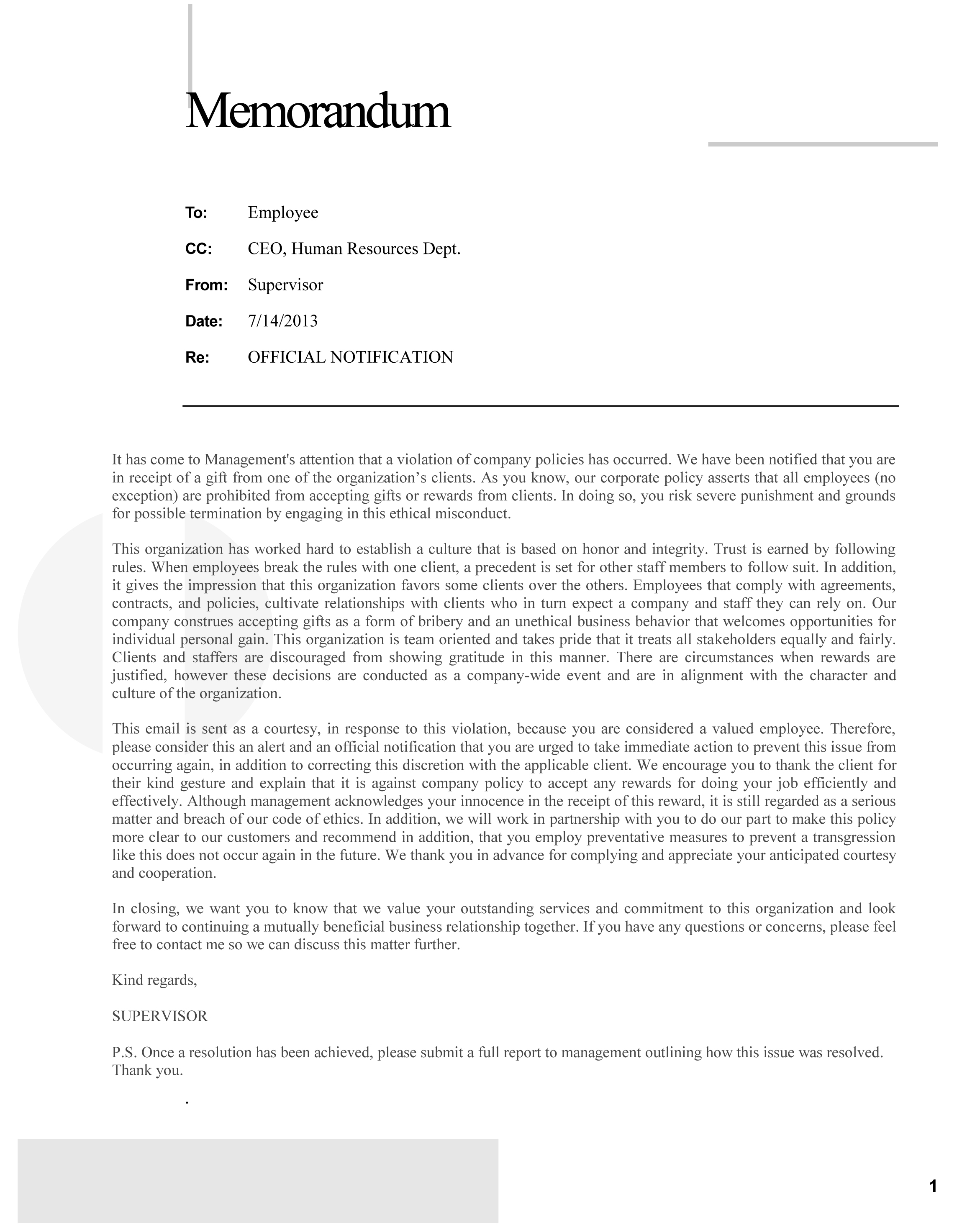 2013 r s organizational management by composing this letter the supervisor is immediately taking responsibility of the seriousness of the matter and addresses the situation