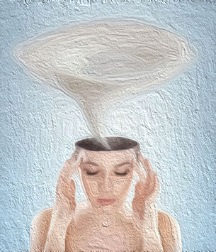 Conceptual picture - tornado in woman's head