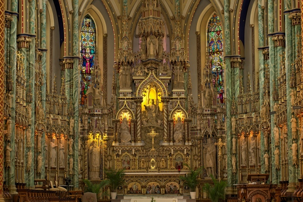 Inside the Notre-Dame Cathedral Basilica,